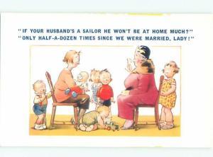 Bamforth Comic WOMEN WITH MANY KIDS AB9717