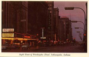 IN - Indianapolis. Washington Street at night