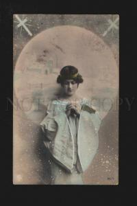 074173 PRAY of Young Lady as ANGEL Vintage PHOTO tinted
