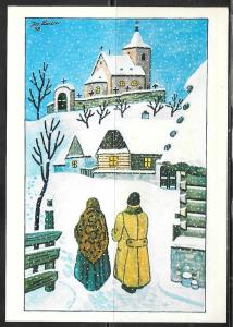 Czechoslovakia winter scene, pictorial meter cancel, 1987