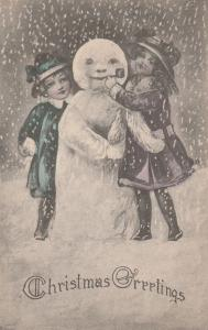 Children with Snowman - Christmas Greetings - DB