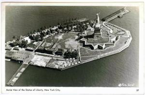 Photo Postcard Aerial View Statue of Liberty New York City Unused