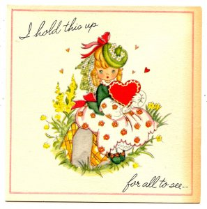 Greeting Card - Valentine & Envelope, Unused  (4.5 X 4.5)