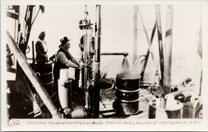 Fort Norman NWT Imperial Oil Co. Chris Taylor Oil Gusher Real Photo Postcard E83