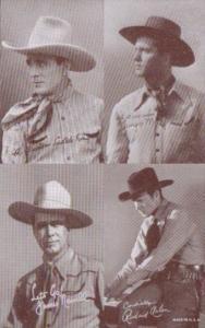 Vintage Cowboy Arcade Card George Montgomery James Newill Richard Arlen