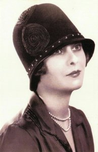 Nostalgia Postcard 1928 High Fashion, Victor Jay Designed Hat, Repro Card NS8