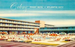Atlantic City New Jersey~Colony Resort Motel~Swimming Pool~Artist Drawn~1959