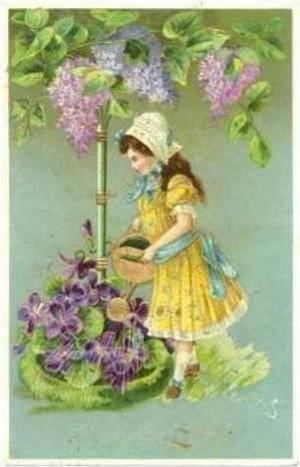 Watercan: Girl waters purple flowers, Hartlig Gratulation, PU-1910