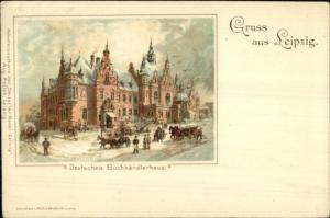 Gruss Aus Leipzig Deutsches Buchhandlerhaus c1900 Postcard