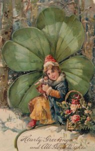 Hearty Greetings, 1900-10s; Girl with doll & flowers, Large shamrock, PFB 7245