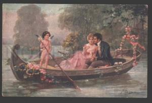112279 NUDE Winged Angel CUPID w/ Lovers Boat vintage Color PC