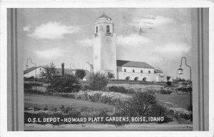 G17/ Boise Idaho Postcard 1945 O.S.L. Railroad Depot Building 4
