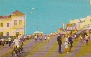 Bicycling & Strolling On The Boardwalk, Showing Moorlyn Theatre, Ocean City, ...