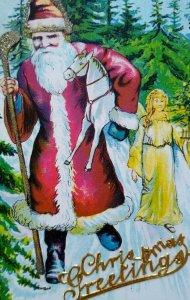 Vintage Christmas Postcard Santa Claus Raised Text Glitter Germany Series 76 78