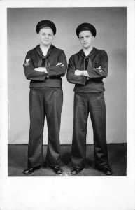RPPC Two Sailors WWII Great Lakes Military Navy 1943 Vintage Postcard