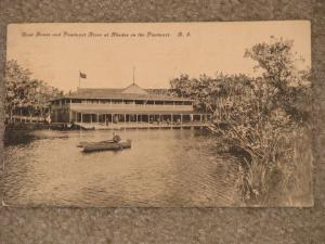 Boat House & Pawtuxet River at Rhodes on the Pawtuxet, R.I., used vintage card