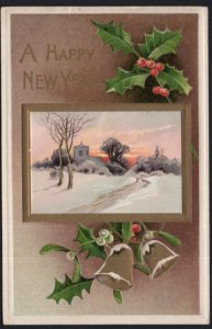 A Happy New Year with Holly and a Winter Scene - Embossed - pm1911 - DB