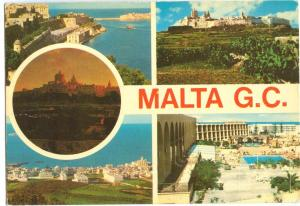 MALTA, G.C. multi view, used Postcard