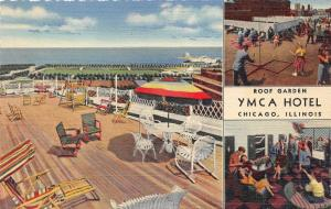 Chicago Illinois~YMCA Hotel~Roof Garden~Playing Games~Overlooking Lake~1940s