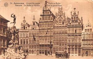 Anvers Belgium, Belgique, Belgie, Belgien Le Brabo et Maisons de la grand Pla...