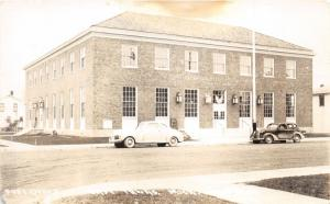 East Tawas Michigan~Post Office~Classic Cars Parked in Front~House Bkgd~40s RPPC