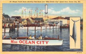 E30/ Ocean City Maryland Md Postcard Linen Magee Yacht Basin Fish Boats Miss
