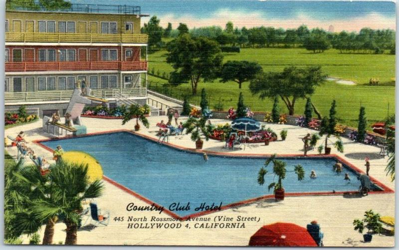 Hollywood, California Postcard COUNTRY CLUB HOTEL Pool View Linen c1950s Unused