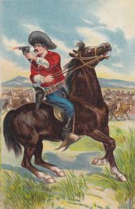 Cowboy on horse with gun , 00-10s; Cattle in background
