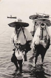 RP: TETUAN, Morocco, PU-1955 ; Fiesta del Agua, Row boat and sail boat, costumes