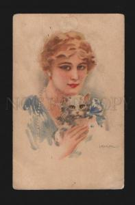 077278 Portrait of Lady & White KITTEN by USABAL vintage PC