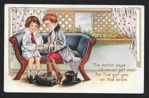 Valentine Card 'The Doctor Says Ill Never get Well .....' Used c1910s