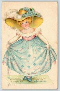 Ernest Nister Valentine~Lil Forget-me-Not Girl in Wide Brim Hat & Flower Dress