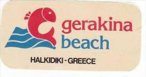 GREECE HALKIDIKI GERAKINA BEACH HOTEL VINTAGE LUGGAGE LABEL