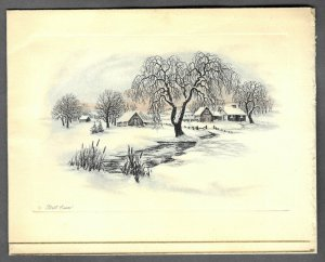 VINTAGE 1940s WWII ERA Christmas Greeting Holiday Card FIRST SNOW Farm Creek