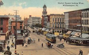 Williamsport Pennsylvania Market Square Street Scene Antique Postcard K63764