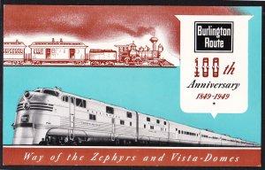 Burlington Route - 100th Anniversary – 1849 – 1949 - Zephyrs / Vista Domes