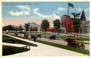 New Haven, Connecticut - Cars parked on the Green - in 1916