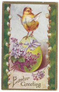 Vintage Easter Postcard Chick Forget Me Nots Embossed c 1910