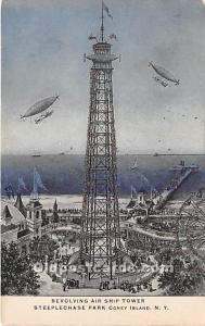 Amusement Park Postcard Post Card Revolving Air Ship Tower, Steeplechase Park...