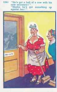 Office Cleaners Eavesdropping Secretary Making Love 1970s Comic Humour Postcard