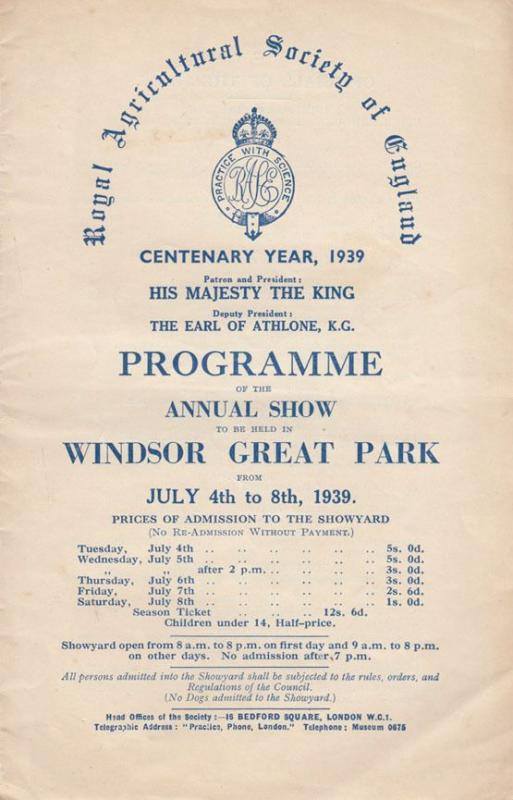 Windsor Surrey 1939 Agricultural Greene King Show Programme inc Flower Dairy Map