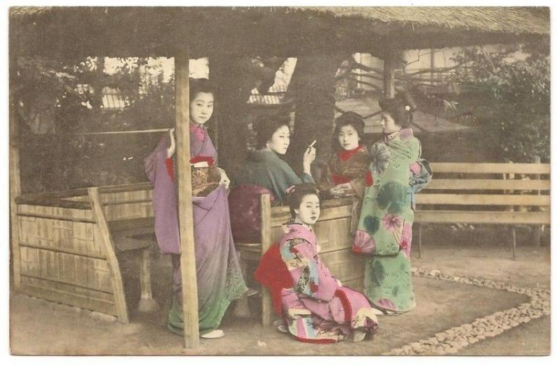 Japan Geisha girls in a resteraunt hand colored vintage postcard