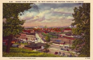 SUNSET VIEW OF ROANOKE, VA WITH NORFOLK AND WESTERN TERMINAL IN CENTER
