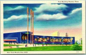 1939 New York World's Fair Expo Postcard Food Building Number Three Linen Unus