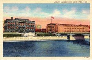 Iowa Des Moines Library and Coliseum Curteich