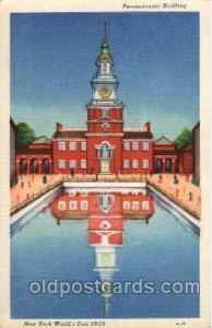 Pennsylvainia Bldg. New York Worlds Fair 1939 Exhibition Unused