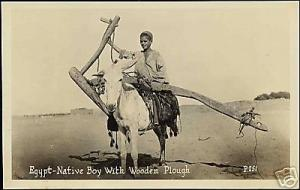 egypt, Native Boy with Wooden Plough (1930s) RPPC