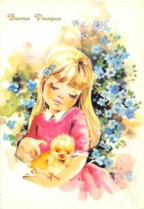 Buona Pasqua, Little Girl Holding a Chicken Painting Postcard, Happy Easter