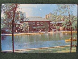 CHICAGO, ILL ~ Lincoln Park Boathouse Lake Recreation Center Vintage Postcard