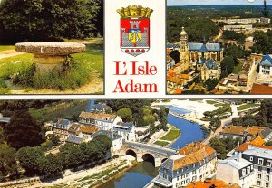 France L'Isle Adam Bridge River Church Air view Postcard